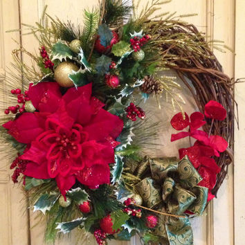 Grapevine Christmas Wreath, Christmas Wreath, Designer Christmas Wreath, Poinsettia Christmas Wreath, Green and Gold Christmas Wreath
