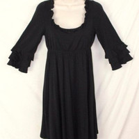 Betsey Johnson Dress S size Black Soft Scoop Neck Elastic Waist