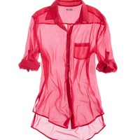 AERIE CHIFFON BUTTON DOWN SHIRT