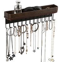 Jack Cube Hanging Jewelry Organizer Necklace Hanger Bracelet Holder Wall Mount Necklace Organizer with 25 Hooks(Brown) - MK124A (16.38 x 4.88 x 2.93 inches) Type1 (Brown)