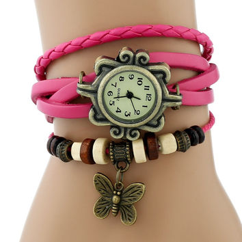 Gnova Platinum TOP Classic GENUINE Leather Bracelet Watch Bronze BUTTERFLY Charm Lady Vintage wristwatch Indian Ethnic Fashion