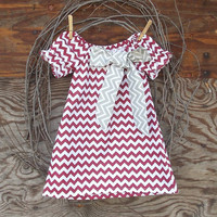 Girls Maroon Chevron Peasant  Dress, Grey chevron bow,  Fall Thanksgiving, Christmas, Holidays 12, 18 months, 2 T and 3 T  size