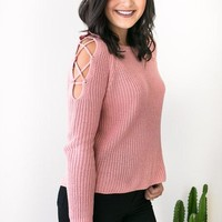 Reach Out Pink Cold Shoulder Sweater