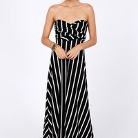 Tricks of the Trade Black Striped Maxi Dress