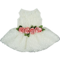 High Quality Luxury Rose Lace Pet Dog Weddding Dress Bride Clothes Formal Apparel = 1929725956