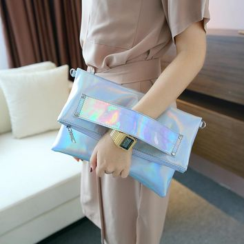 foldable silver evening clutch bags fashion shoulder bags handbags lady envelope cross body bag holographic laser pack