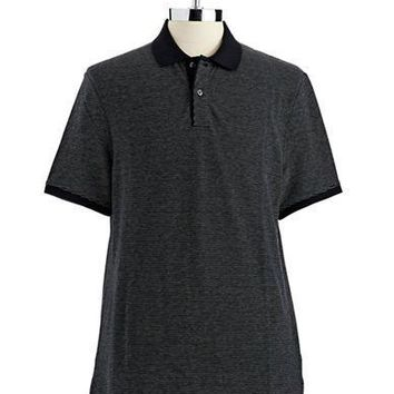 Black Brown 1826 Striped Polo Style Shirt