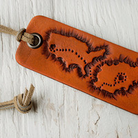United States to Afghanistan -  Military deployment - Hand tooled country shapes - Leather keychain - love over distance