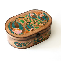 Brown jewelry wooden box. Decorative Box. Home decor.  painting. interior design.