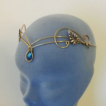 Medieval crown headpiece tiara fantasy wedding circlet forehead jewellery GOLD bermuda