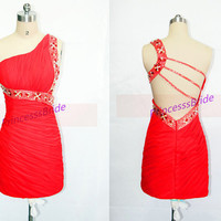 2014 red short chiffon prom dresses with crystals,simple one shoulder dress for holiday party,unique sheath mini homecoming dress.