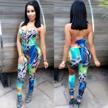 2017 Trending Fashion Floral Printed Sexy Floral Printed Slim Fit Erotic Romper Trousers Pants _ 11092