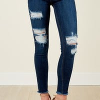 Rock On Dark Wash Distressed Skinny Jeans