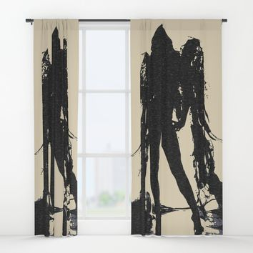 Angel of Death, hot erotic pop art illustration, sexy naked girl abstract stencil Window Curtains by Peter Reiss