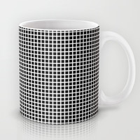 White On Black Grid - Pattern Mug by Moonshine Paradise