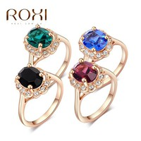 2017 ROXI Brand Multi-color  Crystal Ring Rose Gold Color Girls Wedding Jewelry Choker Romantic Mother's Gift for Women