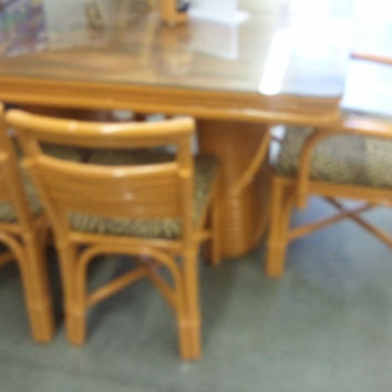 1948 Paul Frankl Style 6 Strand Rattan Dining Table and 6 Chairs tiki hawaiiana retro