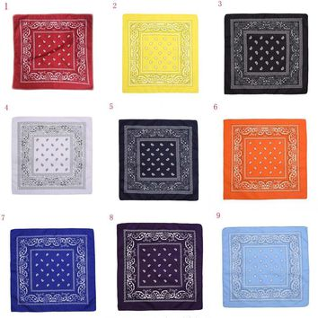 YJSFG HOUSE New Women Men Bandanas Harajuku Paisley Bandana Head wrap Cotton Scarf Wristband Handkerchief Female Square Scarf