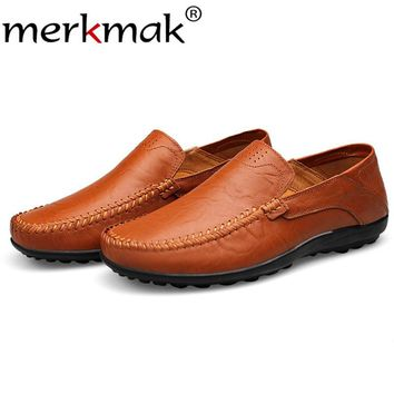 Merkmak Genuine Leather Men Loafers Shoes Casual Slip Flats Moccasins Comfortable