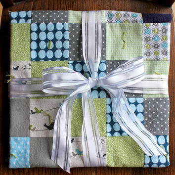 Flannel Baby Quilt Receiving Blanket, Baby Boy, Grey, Green and Navy Blue