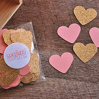 Bridal Brunch Party Decor. Bridal Shower Decorations. Coral and Gold Heart Confetti 2 Packs (50ct each)