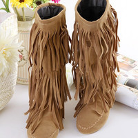Tassel Flats Mid Calf Boots Women Shoes 7172