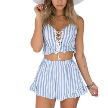 Striped Lace Up Playsuit