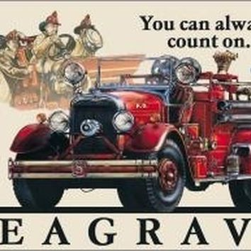 Seagrave Vintage Fire Truck Tin Sign