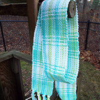 Mint green scarf, handwoven scarf, light-weight cotton scarf, extra long scarf, weaved, weaving, mint accessories, handcrafted fashion scarf