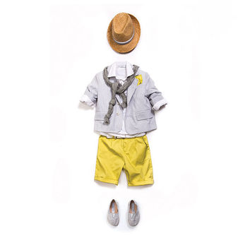 Baptism outfit,Boy Outfit 3pcs - Ring Bearer Outfit - Boy First Birthday Outfit - Photo outfit - Ring Boy Suit -grey-yellow outfit-Boy Suit