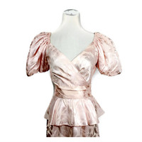 80s pink peplum dress, Lola Berent for Superstition, light pink satin long prom dress