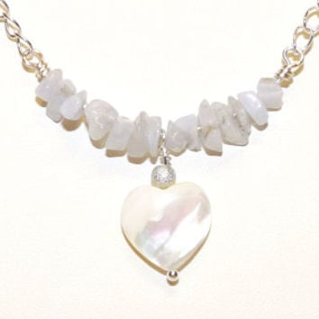 Necklace, Blue Lace Agate, Mother of Pearl, MOP, Silver Chain,Heart Shaped Clasp, Hand Crafted, Ooak