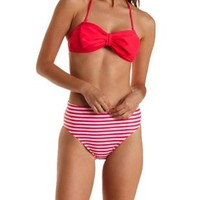 Red Cinched Bow-Front Bandeau Bikini Top by Charlotte Russe