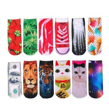 DCCKWA2 3D Printed Animal Socks Fashion Cat Lion Tiger Skeleton Dollar Bill Women Socks