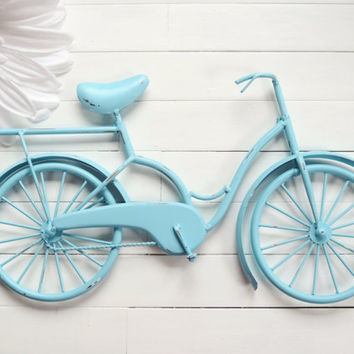 Metal Bike Art / Beach Decor / Retro Decor / Bike Decoration / Metal Wall Art / Bicycle Art / Customize Color / Aqua Home Decor