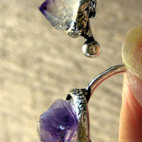 Amethyst Double Finger Ring Two Finger Ring Bohemian Jewelry
