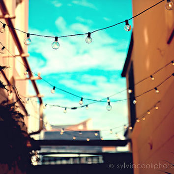"""New Orleans Photograph, """"Strings of lights"""" Travel Photography, Colorful Pastel Houses, French Quarter"""