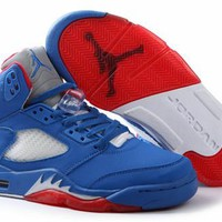 Cheap Air Jordan 5(V) Retro Men Shoes Royal Blue Fire Red