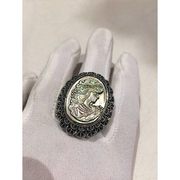 Antique White mother of pearl cameo marcasite fillgree ring
