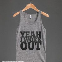 Yeah I Work Out (tank)-Unisex Athletic Grey Tank
