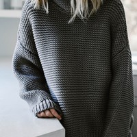 The Goddess Turtleneck Sweater (Grey)