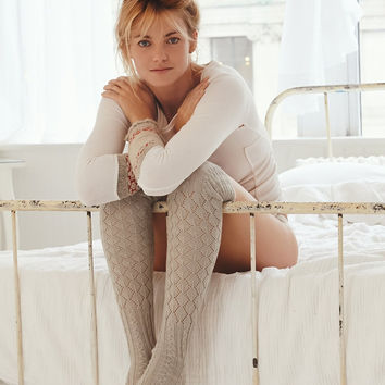 Free People Filomena Thigh High Boot Socks Golden Sand Pointelle Over The Knee Thick Warm Tan Scrunch Top Winter Socks