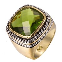 Huge Peridot Gold Filled Ring