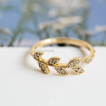 Cz leaf branch ring,cute ring,cz ring,stretch ring,engagement ring,leaf jewelry,wedding ring,bridal ring,adjustable ring