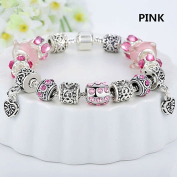 Retro Style 925 Silver Crystal Charm Bracelet for Women With Glass Beads DIY Fashion Jewelry ,Womens Charm Bangle From Milkle Gift = 1946435908