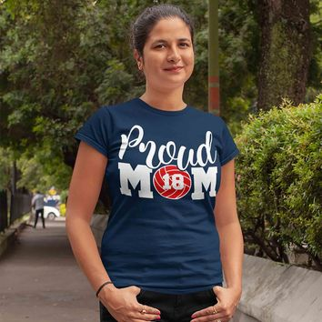 Women's Personalized Volleyball Mom T Shirt Proud Volleyball Mom Shirts Volleyball Mom Shirt Personalized Shirts