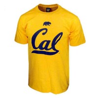 Cal Big Cursive Logo Short Sleeve Tee - Gold