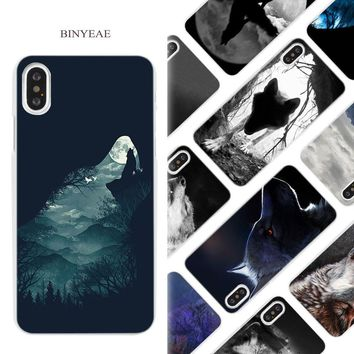 BINYEAE Classic Cool Wolf Hipster Hard White Phone Case Cover Coque Shell for iPhone X 6 6S 7 8 Plus 5 5S SE 4 4S 5C