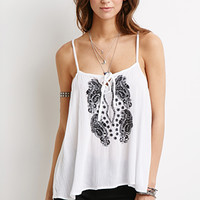 Paisley-Embroidered Cami