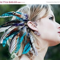 Christmas in july SALE sequoia nights... tribal feather ear cuff